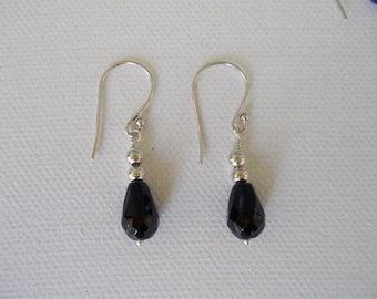 Earrings, Sterling Silver and Black Tourmaline