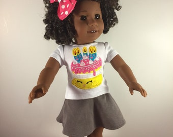 18 Inch Doll Clothes;Custom Doll Clothes;Shopkins Cake;Shopkins Birthday Shirt;Doll Birthday Shirt;Doll Clothes;Doll Tee;Doll Accessories