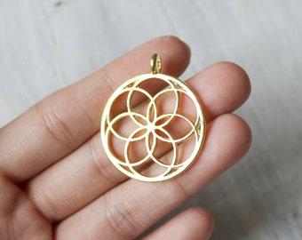 Set of 2 Bright Gold Yoga Seed of life Pendant Nature Buddhist Boho 356