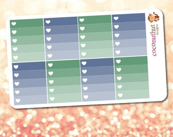 Blue & Green Ombre Heart Checklist Planner Stickers (Erin Condren Life Planner Monthly Colors)