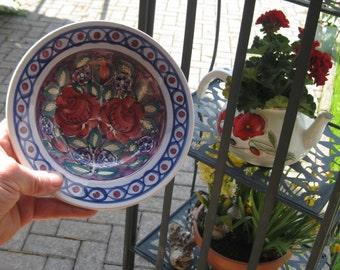 Old plate vintage hand-painted Polish pottery plate Wloclawek in Poland original FAJANS ceramic traditional art ceramic 1960