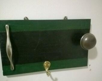 Key Holder Wall Art Green And Black Wood