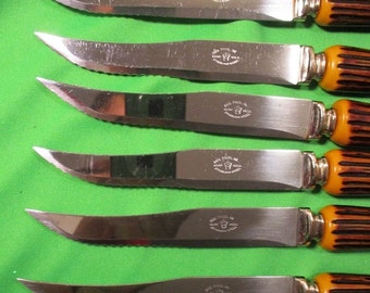 Vintage 6 Stag Bone Handle Steak Knives,Reo Prod,Faux Antler,Cutlery Stainless Steel Steak Knives with Serrated Edge,Made in USA