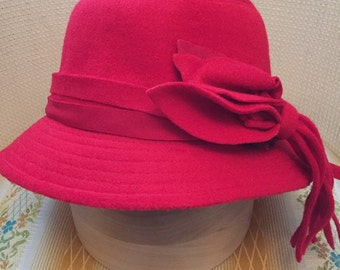 Fun Festive Berry Red Cloche Hat