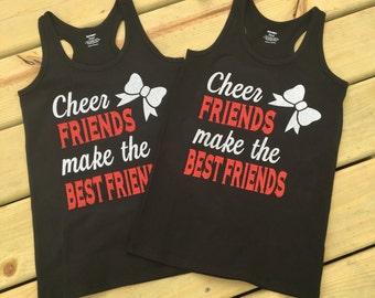 "Adult ""cheer friends make the best friends"" tank top"