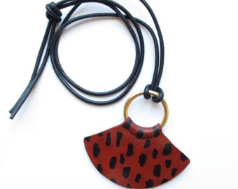 Leopard Print // Cheetah Print // Animal Print Leather Necklace // Brass Pendant // Statement Necklace