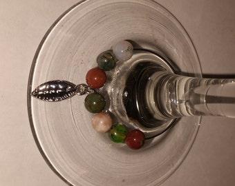 Earth Tone Beads & Leaf Wine Charm