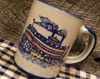1980's Louisville Stoneware -Belle of Louisville Mug, collectible mug, Riverboat cup, coffee cup, Derby Festival, Kentucky, Steamboat Race