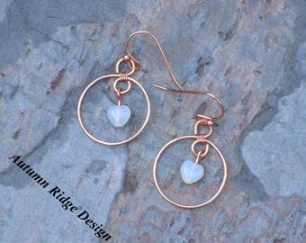 Copper Hoop Earrings w/Milky White Glass Hearts