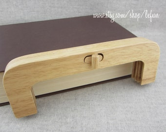20cm Natural Color Wooden Purse Frame Wood Clutch Bag Handle, one piece