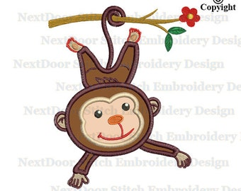 Monkey hanging on a tree branch applique design, animal machine embroidery file download, mk-015