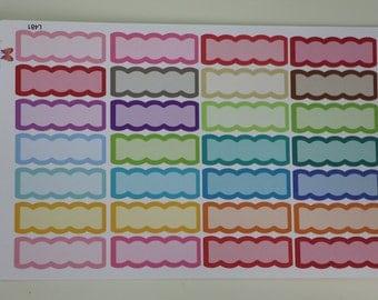 Rainbow Scallop Quarter Box Planner Stickers L481