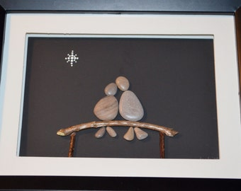 WISH UPON A STAR, Pebble couple on a bench under the stars, pebble art, one of a kind