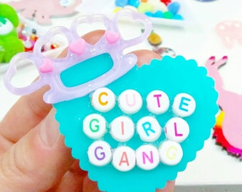 Cute Girl Gang knuckle-duster pin