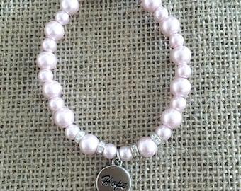 Hope Pink Cristal Beads Bracelet