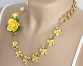 Yellow Necklace, Statement Necklace, Flower Necklace, Re-purposed Jewelry, Vintage Jewelry, Short Necklace, Handcrafted Necklace, Unique