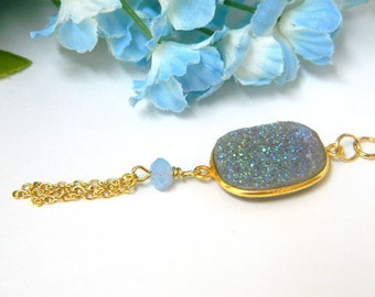 Gold Tassel Necklace, Blue Necklace for Women, Druzy Necklace, Swarovski Crystal Jewelry, Chain Necklace, Handcrafted Jewelry, Gold Necklace