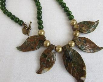 Kambamba Jasper and Emerald bead necklace