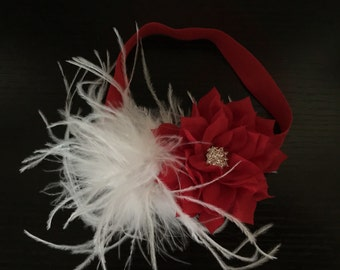 Christmas Headband ,Flower Baby Girl Headband ,Vintage Flower Headband , Baby Girl Headband ,Baby Christmas Headband, Baby Headband