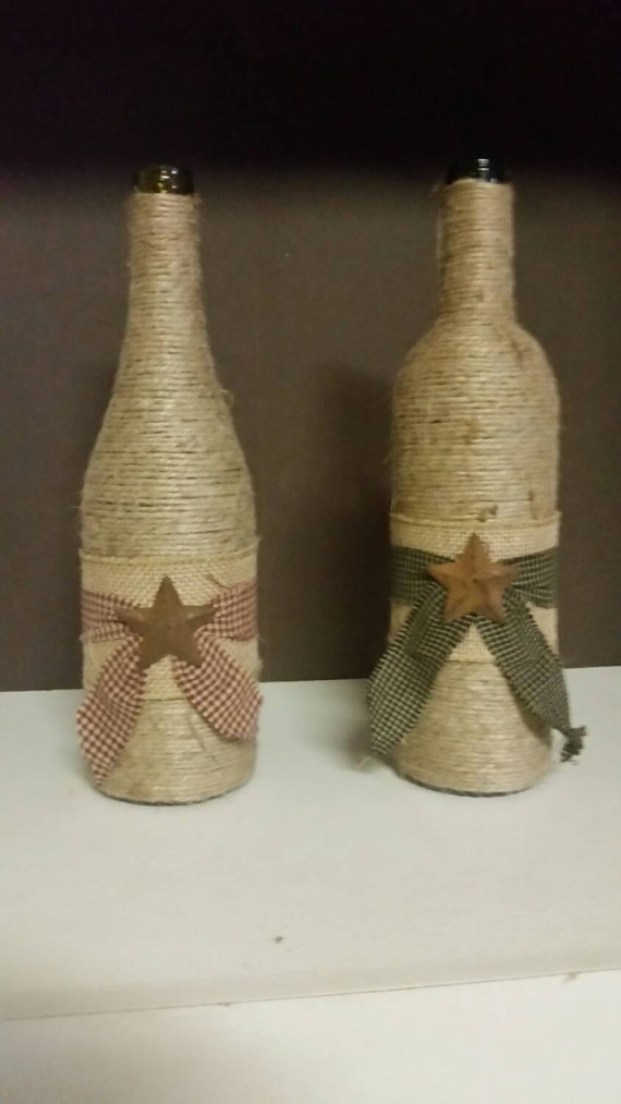Items similar to hand made primitive wine bottles on etsy for Things made from wine bottles