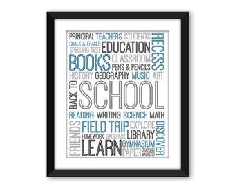 Back To School Subway Art, DIGITAL DOWNLOAD, Printable School Art, Classroom Wall Decor, Typographic Art, Teacher Subway Art