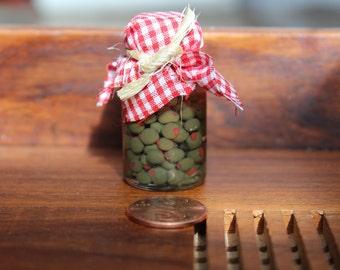 Jar of green olives, doll food, fairy garden, 18 inch Doll food