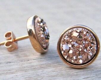 Earrings, Druzy Rose Gold,