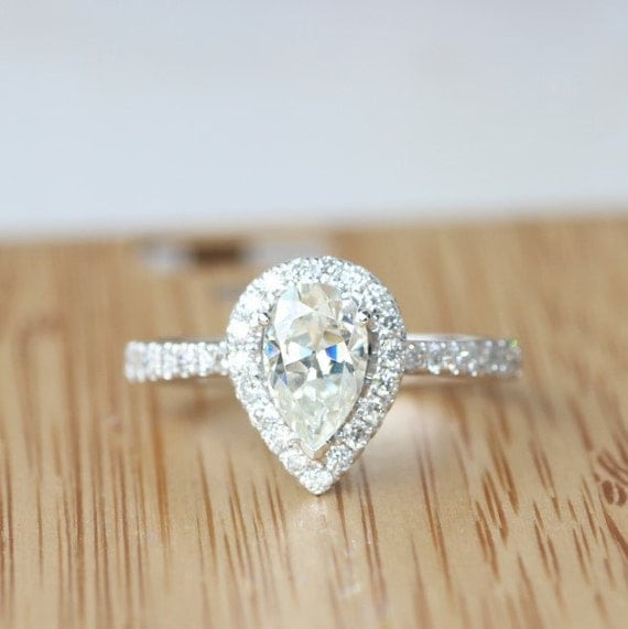 halo engagement ring pear moissanite halo by. Black Bedroom Furniture Sets. Home Design Ideas