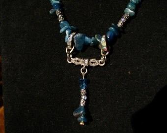 Handmade Genuine Blue Opal Necklace, Quartz Crystal Necklace, Y Necklace, Genuine Opal Necklace, Genuine Opal Jewelry, Crystal Jewelry