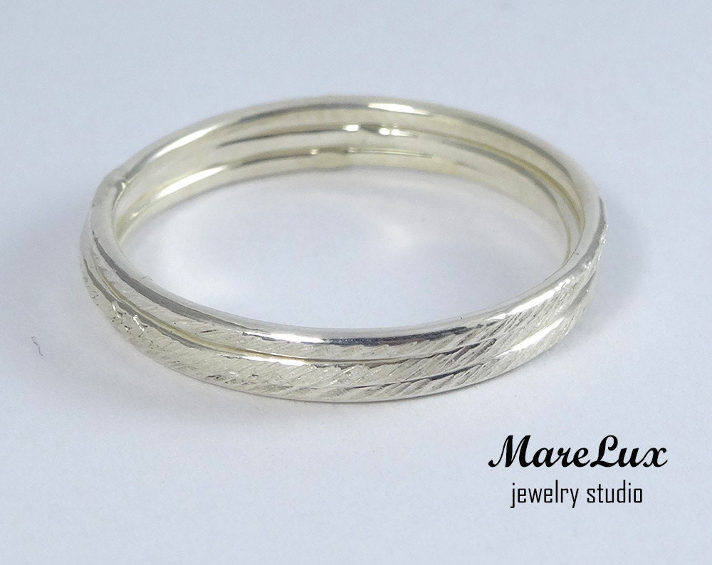 set of 3 thin stacking texture silver rings thin