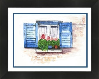 Blue Shutters Window with Geraniums