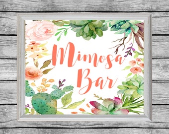 Mimosa Bar Sign. Mimosa Bar Printable. Baby Shower Mimosa Sign. Bridal Shower Sign. Printable Baby Shower Succulent Decor. Instant Download