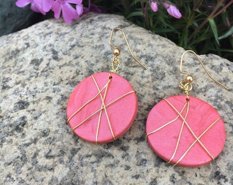 Polymer clay wire wrapped earrings