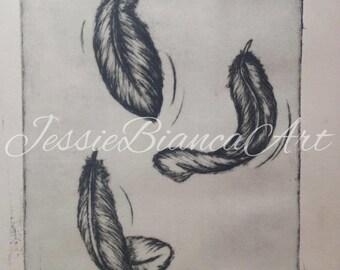 Feathers Lino Print