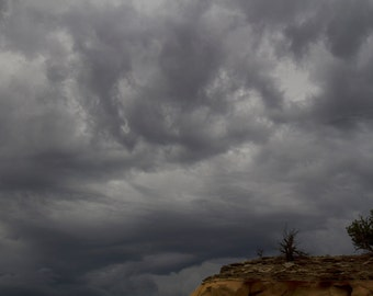 Near Ghost Ranch, Abiquiu, NM-Storm Approaching Near Orphan Mesa - 0393 c