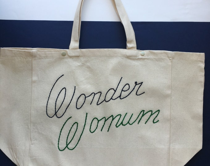 """Featured listing image: Cabas """"Wonder Womum"""" / / hand embroidery / / gift for moms / / super MOM / / original gift idea / / gift wife MOM / / tote bag"""