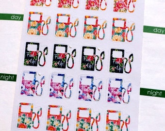 Floral Gas Pumps, planner stickers