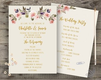 Floral Wedding Program Printable Boho Chic Wedding Program Bohemian Wedding Order of Service Gold Typography Spring / Summer Wedding