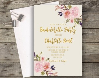 Floral Bachelorette Party Invitation Printable Boho Chic Bachelorette Invitation Suite Bohemian Bachelorette Invite Gold Typography
