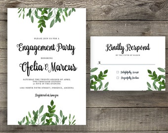 Green Engagement Party Invitation, Handpainted Invite, Leafy Engagement Invite, Engagement Dinner, Calligraphy Invite, Boho Invitation