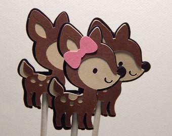 Deer Cupcake Toppers Qty 6 - 24 - cake decorations, party supplies, party decorations, woodland, forest,bambi, baby shower, birthday party