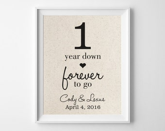 1 Year Wedding Anniversary Present For Husband : Year DownForever to Go 1st First Wedding Anniversary Gift for ...