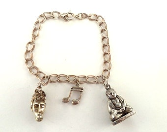 Vintage Sterling Charm Bracelet with Charms Buddah with Hidden Compartment