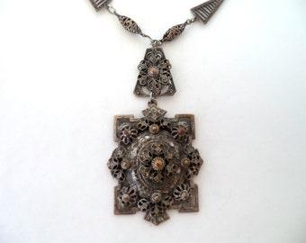 Vintage Silver Filigree Wire Work Pendant Lavalier Necklace