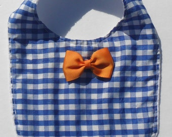 Gingham Little Man bib