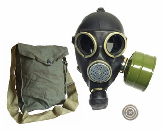 Soviet Russian gas mask GP-7. Black rubber. With filter New.