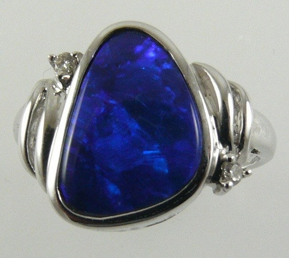 Opal Doublet 2.30ct Ring 14k White Gold with Diamonds