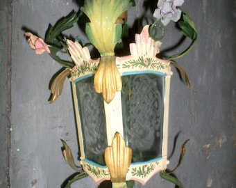 french vintage sheet lantern chandelier with flowers shabby chic for hanging french boudoir etched glass