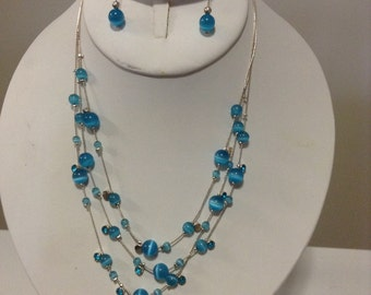 """Sale Handmade 16"""" Necklace and Pierced Earings Set"""