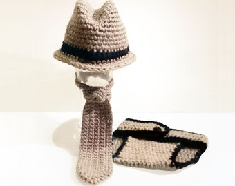 Crochet Newborn Fedora Hat with Matching Tie and Diaper Cover,  Newborn Photo Prop Set